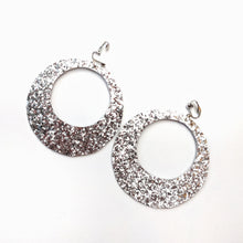 Load image into Gallery viewer, Silver Glitter - Big Hoop Earrings