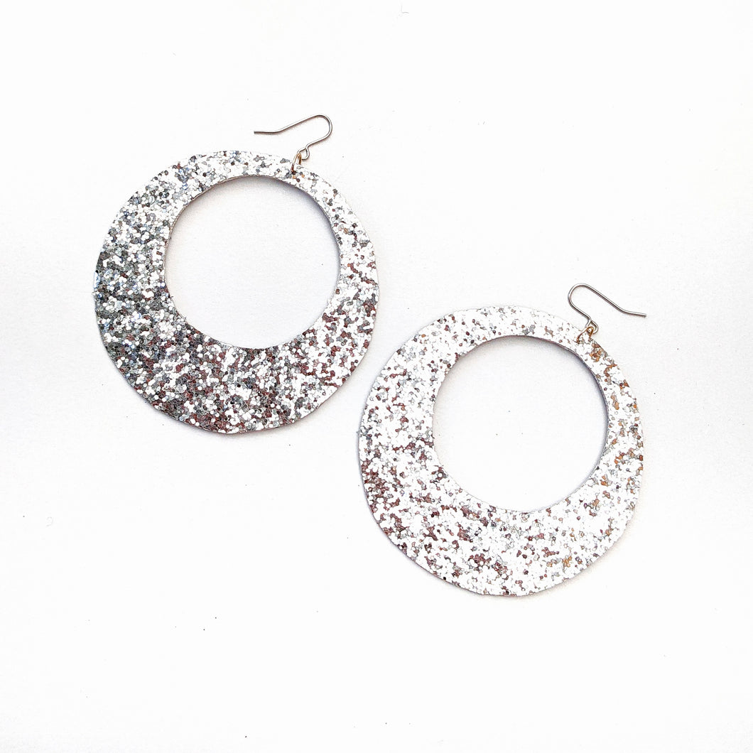 Silver Glitter - Big Hoop Earrings