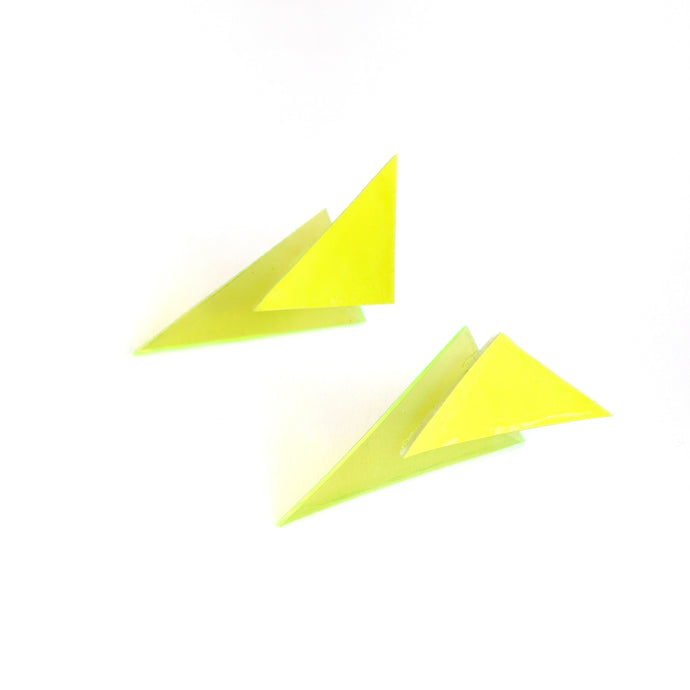 Neon Yellow Patent and Jelly - Power Dressing Stud Earrings