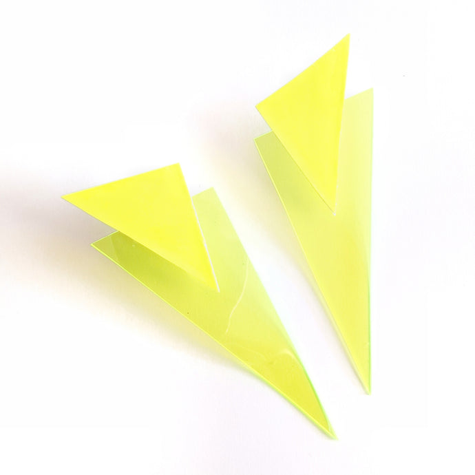Neon Yellow Patent and Jelly - Power Dressing Oversized Statement Earrings