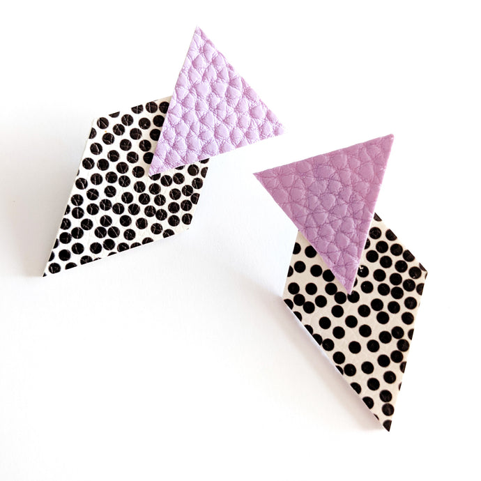 Lavender Triangle and Spotty Diamond - Pick 'n' Mix Stud Earrings