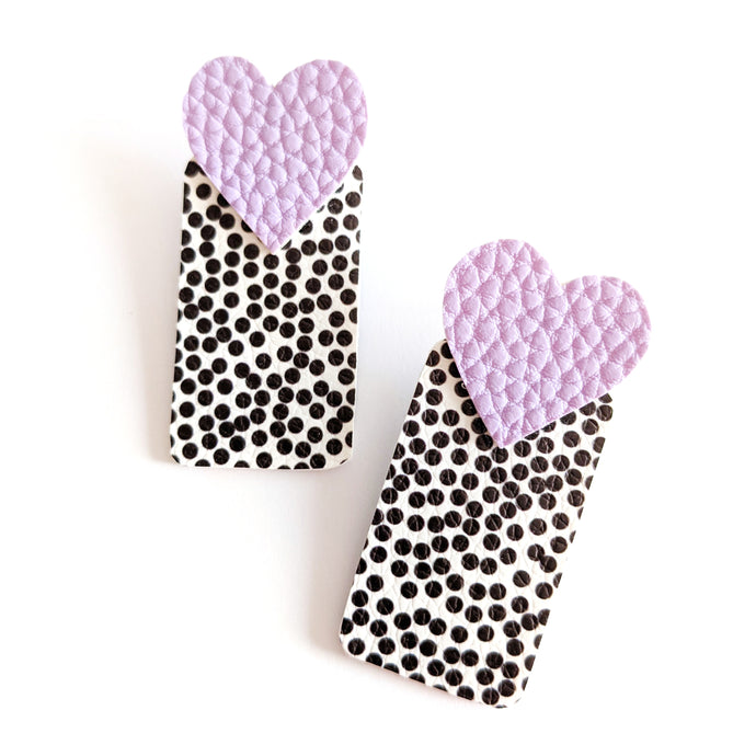 Lavender Heart and Spotty Rectangle - Pick 'n' Mix Stud Earrings