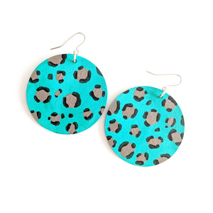 Green Leopard Print - Hand Painted Disc Earrings