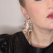 Load image into Gallery viewer, Confetti Gold Glitter - Super Disco Bolt Oversized Earrings