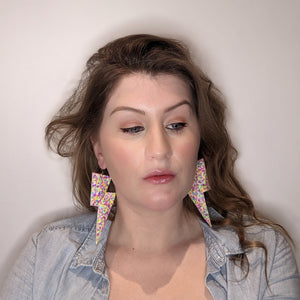 Bright Confetti Glitter - Super Disco Bolt Oversized Lightning Bolt Earrings