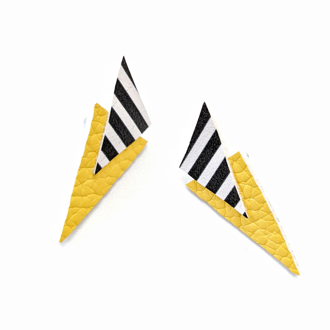 Yellow and Stripes - Power Dressing Stud Earrings