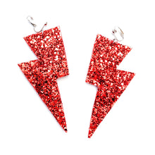 Load image into Gallery viewer, Ruby Red Glitter - Super Disco Bolt Oversized Lightning Bolt Earrings