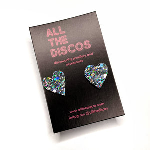Good Disco Collection - Heart Stud Earrings - Hologram Silver Glitter