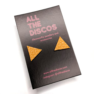 Good Disco Collection - Triangle Stud Earrings - Mustard Yellow Matte Leatherette