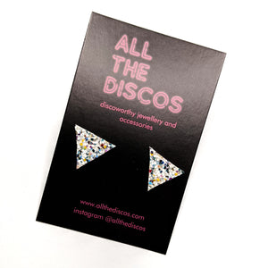 Good Disco Collection - Triangle Stud Earrings - Sea Glass Glitter