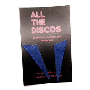 Good Disco Collection - Asymmetric Stud Earrings - Navy Suedette