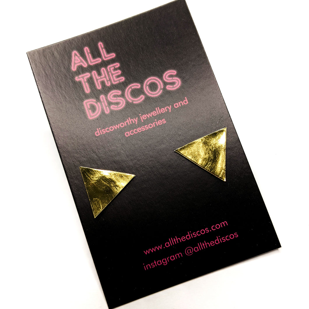 Good Disco Collection - Triangle Stud Earrings - Gold Patent