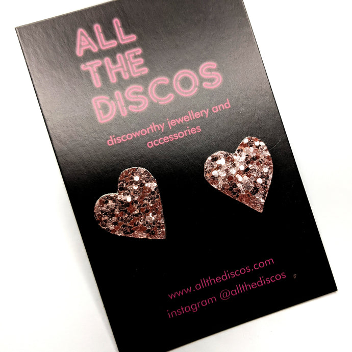 Good Disco Collection - Heart Stud Earrings - Rose Gold Glitter