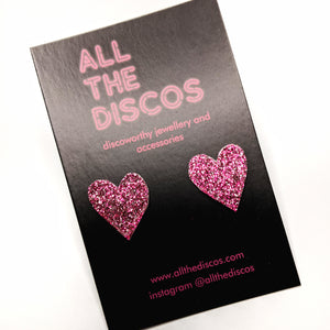 Good Disco Collection - Heart Stud Earrings - Pink Fine Glitter