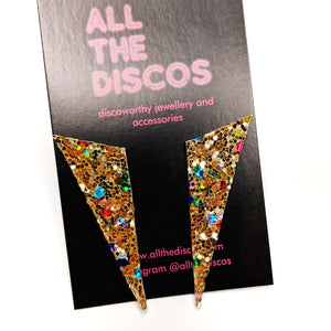 Good Disco Collection - Asymmetric Stud Earrings - Confetti Gold Glitter