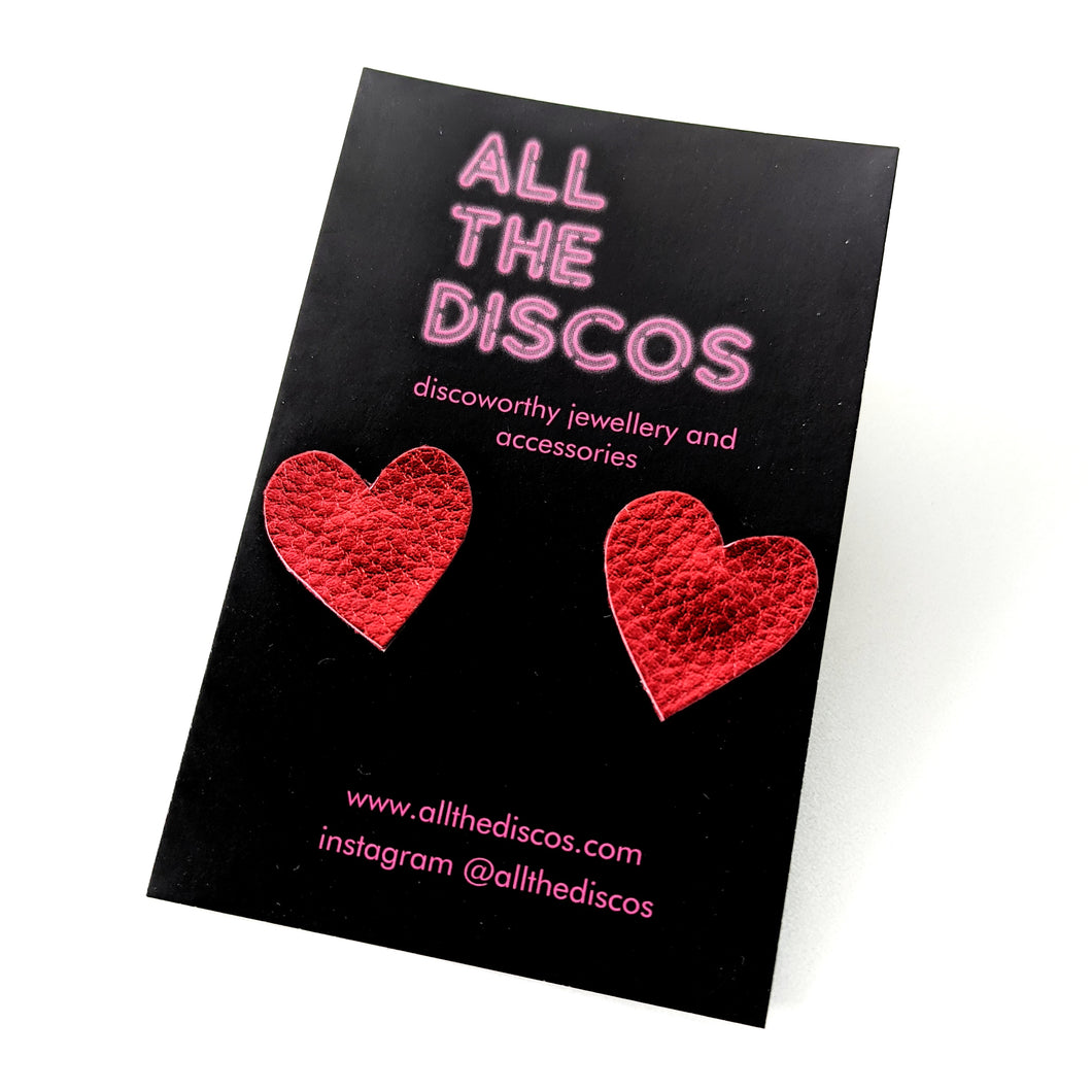 Good Disco Collection - Heart Stud Earrings - Metallic Red Leatherette