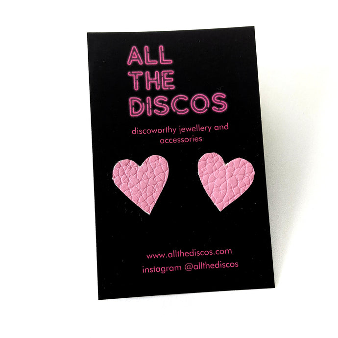 Good Disco Collection - Heart Stud Earrings - Pale Pink Matte Leatherette
