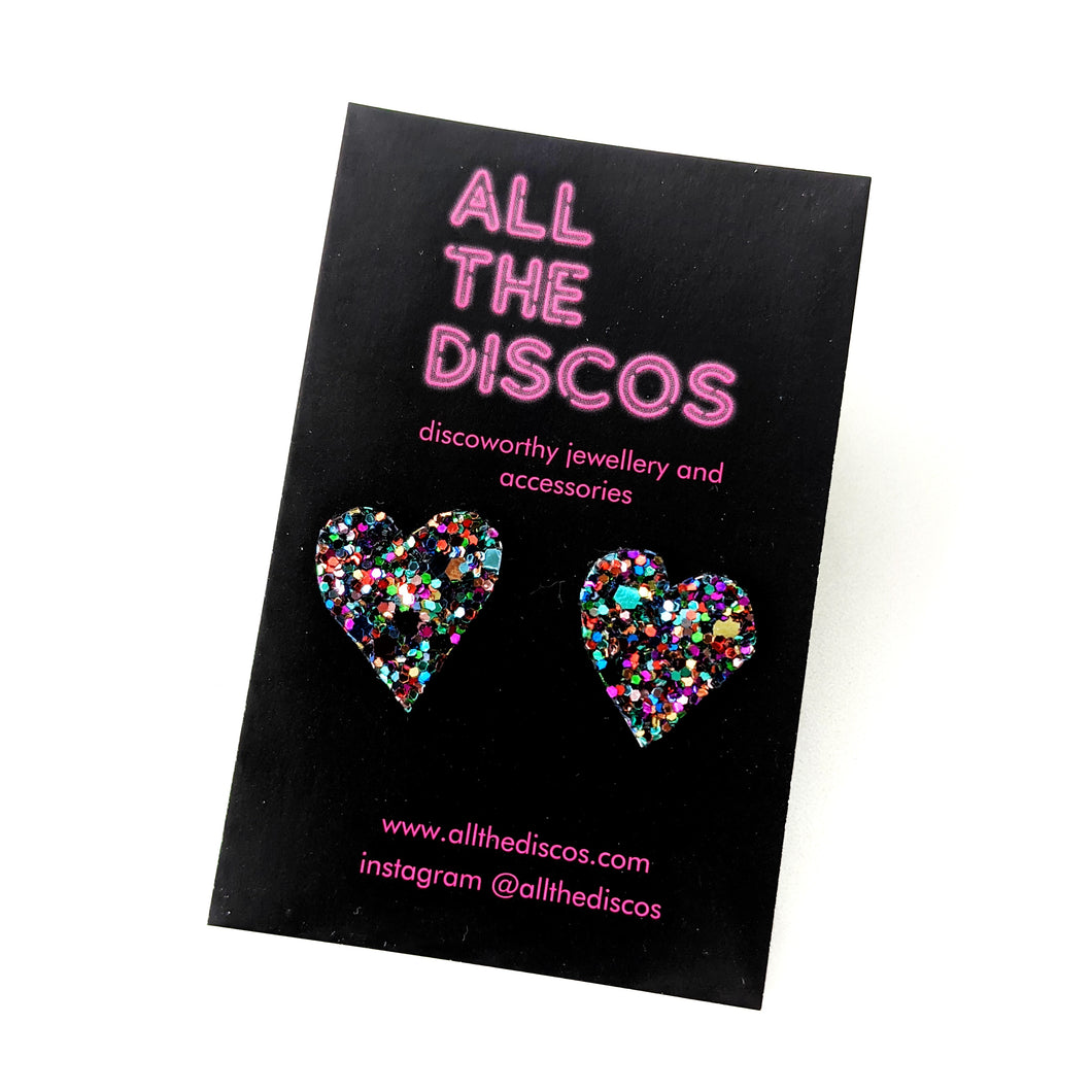 Good Disco Collection - Heart Stud Earrings - Deep Purple Glitter