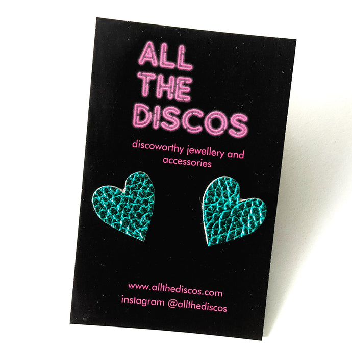 Good Disco Collection - Heart Stud Earrings - Teal Metallic Leatherette
