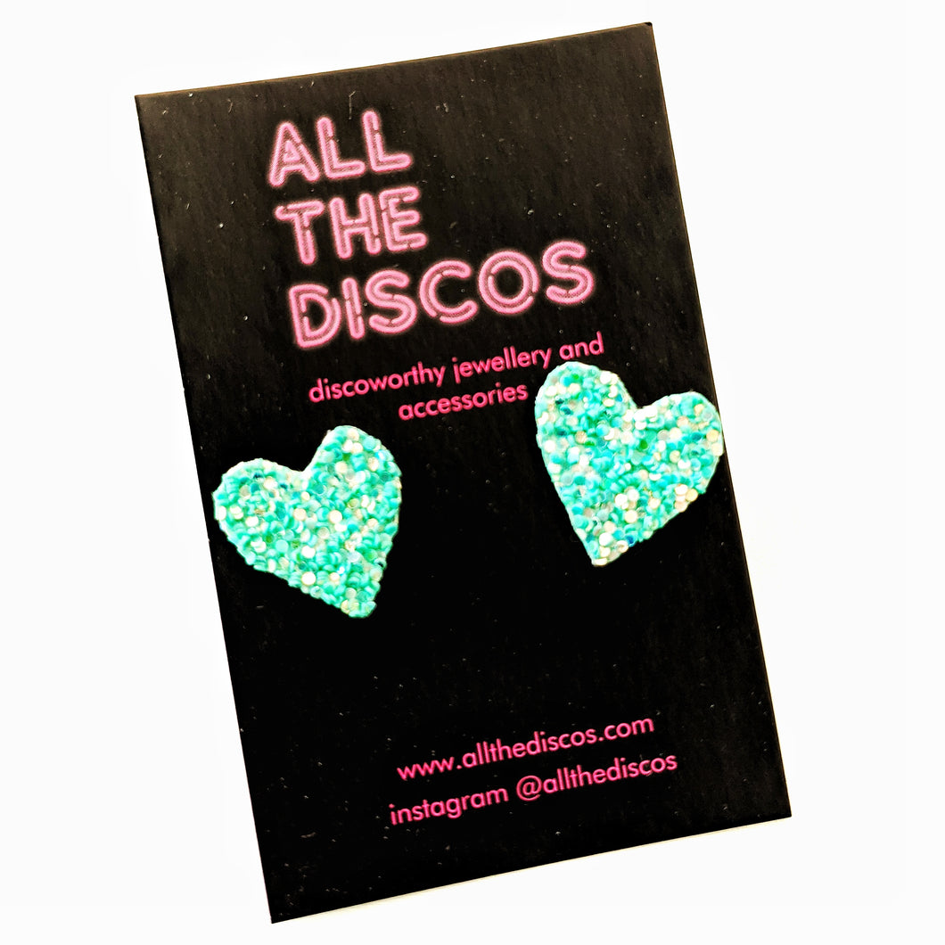 Good Disco Collection - Heart Stud Earrings - Bright Mint Glitter