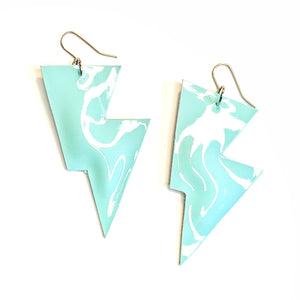 Mint Blue Patent Leatherette - Disco Bolt Lightning Bolt Earrings