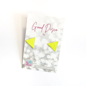 Good Disco Collection - Triangle Stud Earrings - Neon Yellow Patent
