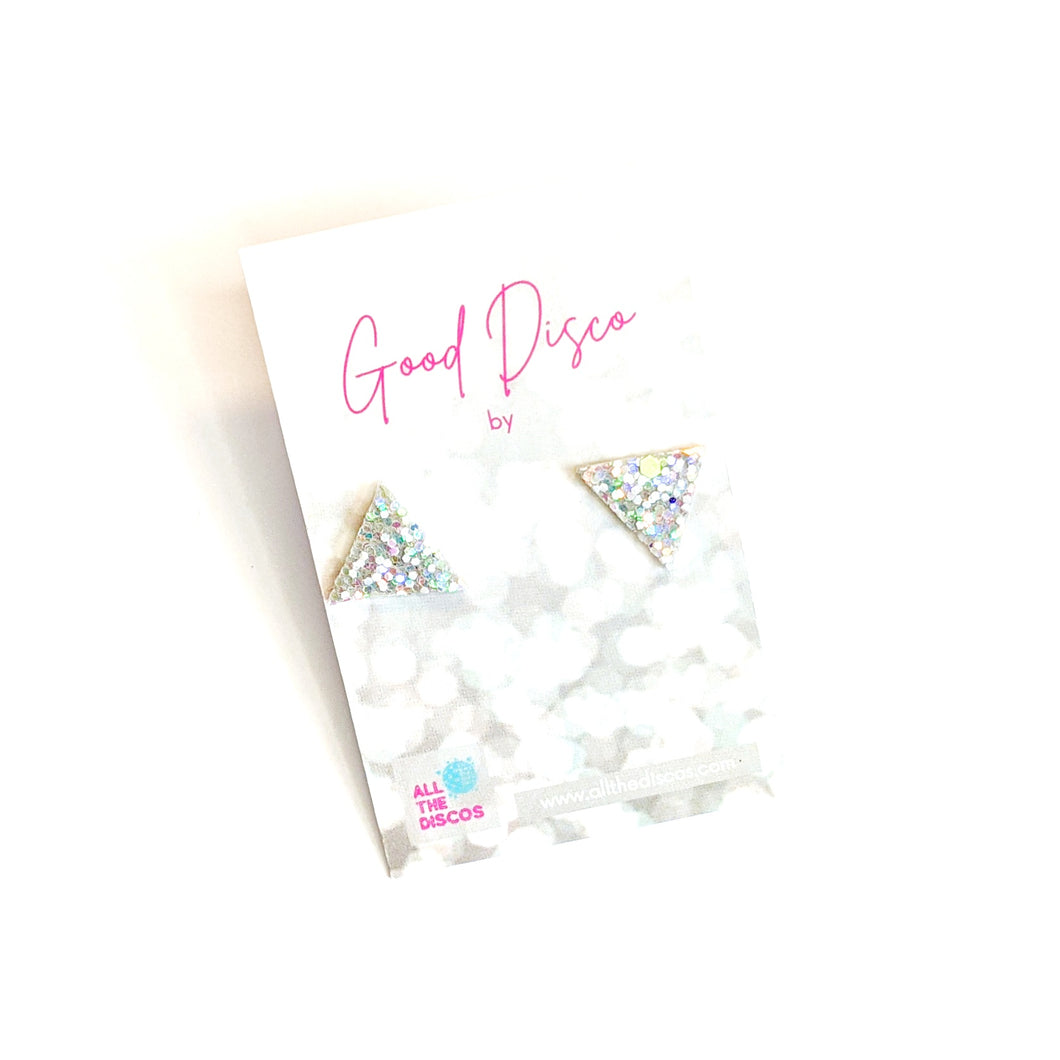 Good Disco Collection - Triangle Stud Earrings - Glow In The Dark Light Glitter
