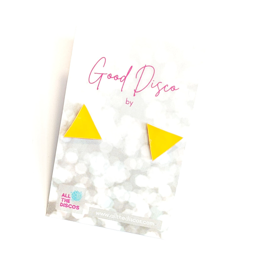 Good Disco Collection - Triangle Stud Earrings - Bright Yellow Matte Leatherette