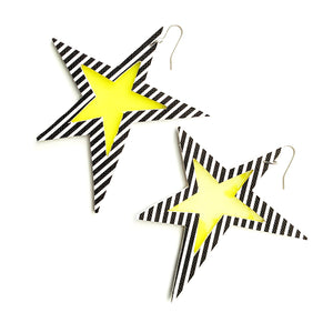 'Truly Outrageous Collection' - Jem Inspired Oversized Star Earrings - Stripe and Yellow