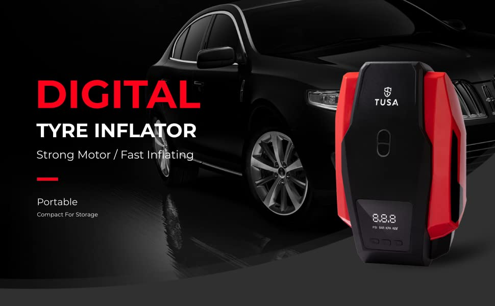 TUSA Digital Car Tyre Inflator - 12V DC Portable Air Compressor with LED Light With 2Yrs Warrenty