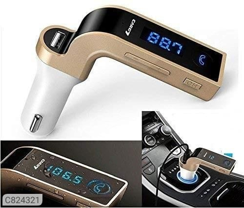 Automith Car Charger Turbo Charging LCD Bluetooth Car Charger with Fm, Mp3 Transmitter, USB Hands-Free Mobile and Aux Cable for All