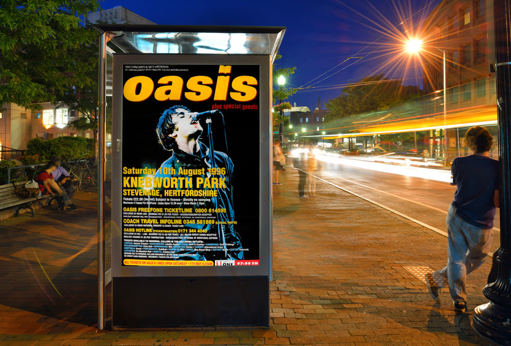 "Oasis poster - Original Knebworth 1996 large 60""x40"", inc free car sticker"