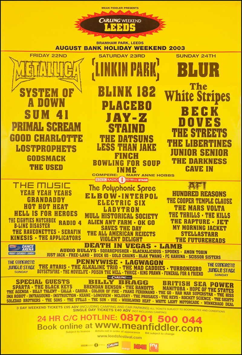 Carling Weekend Leeds Festival 2003 poster