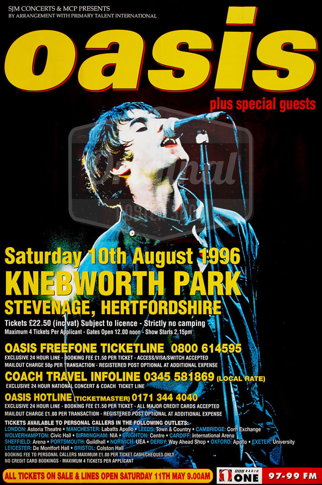 "Oasis Knebworth - 1st Generation Reprint poster 30"" x 20"""