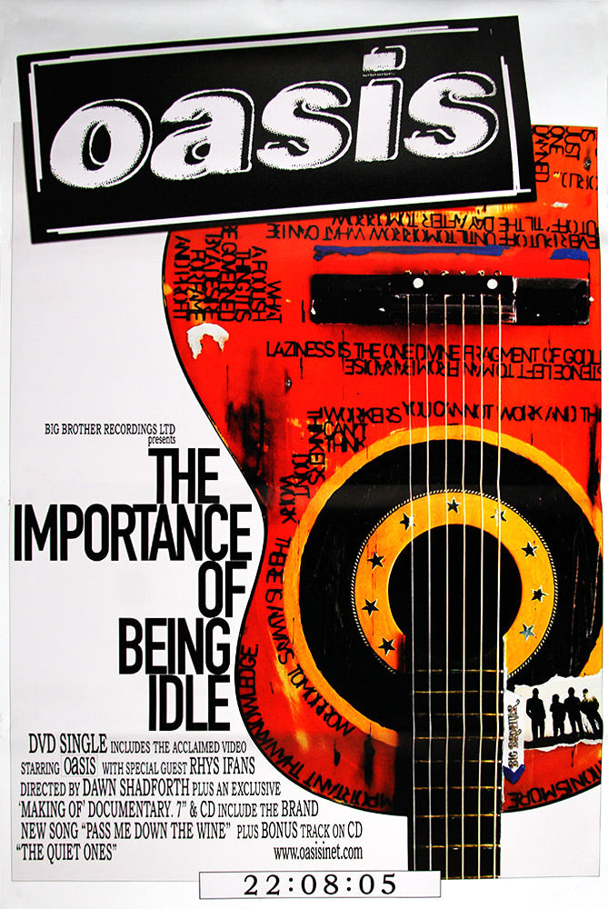 "Oasis poster - The Importance Of Being Idle - Original Large 60""x40"""