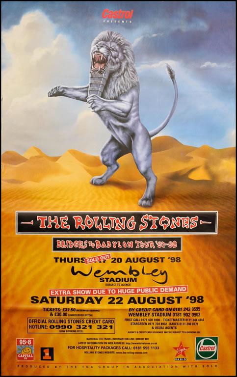 "Rolling Stones poster - Bridges To Babylon Tour - Lion. Original 60""x40"""