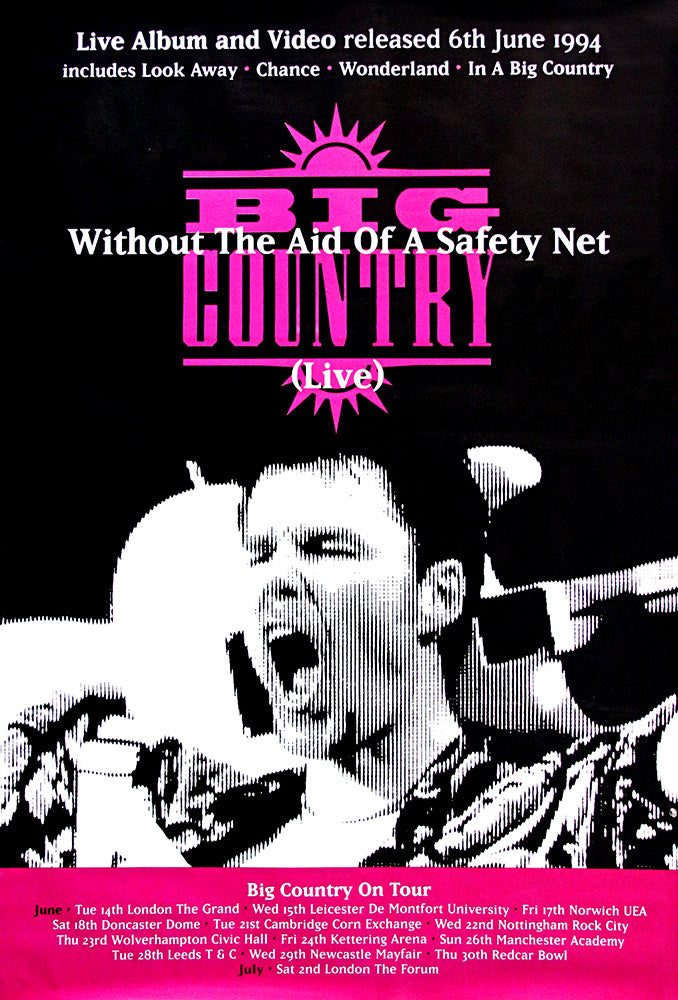 "Big Country poster – Without the Aid of a Safety Net. Original 60"" x 40"""