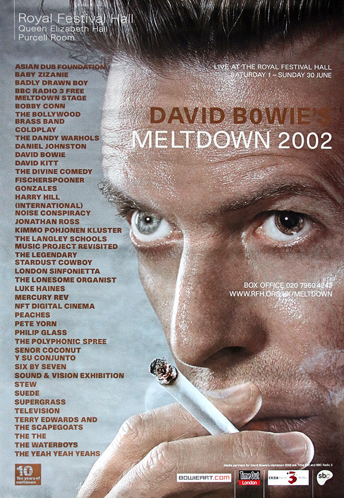 David Bowie poster - Meltdown Tour 2002. Original