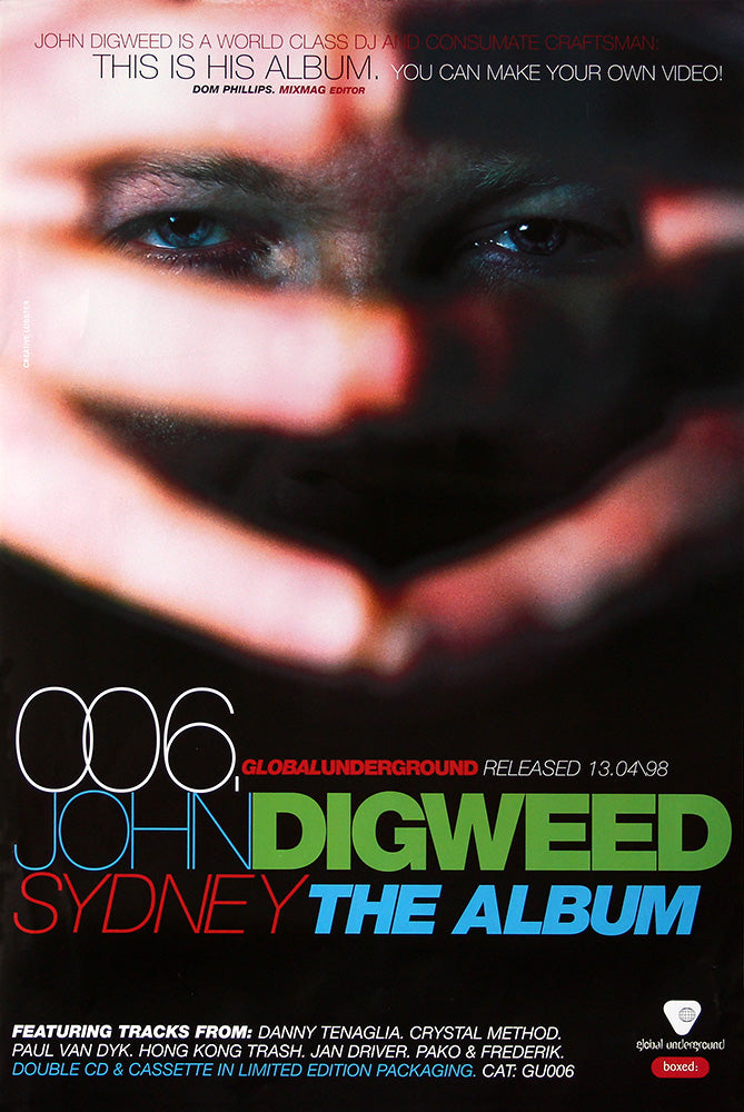 John Digweed poster - Global Underground 006. Original