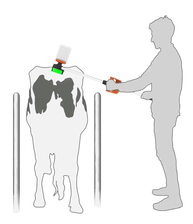 silhouette of a farmer using the Tailpainter in the crush mode