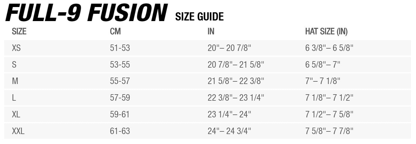 Bell Full-9 Fusion Sizing Chart