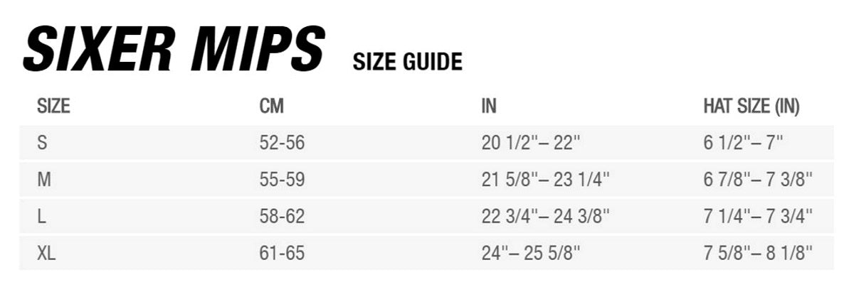 Bell Sixer MIPS Sizing Chart