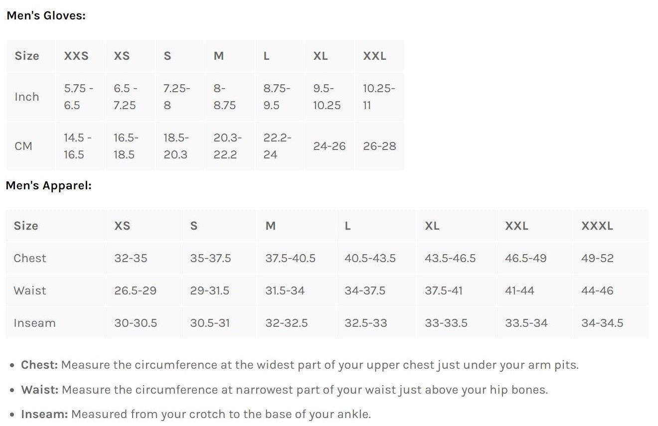Bellwether Men's Clothing Sizing Chart