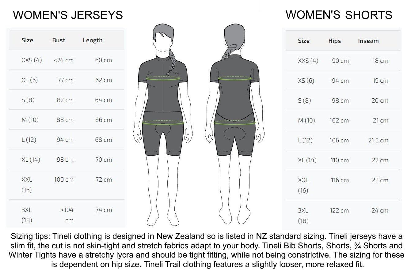 Tineli Clothing Women's Sizing Chart