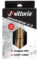 Vittoria Rubino Pro IV Tyre/Tube Twin Pack 700 x 25 G2.0 Tan/Black