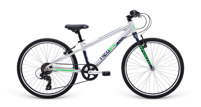 "Apollo Neo Kid's 24"" Bike 7-Speed Silver/Navy/Neon"