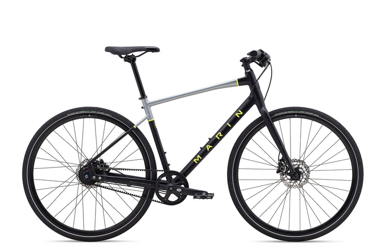Marin Presidio 3 Belt Drive Commmuter Bike Satin Black/Charcoal/Yellow (2020)