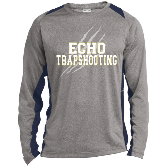 Trapshooting Long Sleeve Heather Colorblock Poly T-Shirt