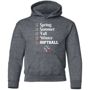 softball season Youth Pullover Hoodie