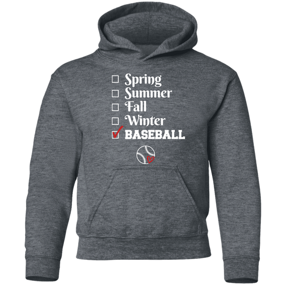 baseball season Youth Pullover Hoodie